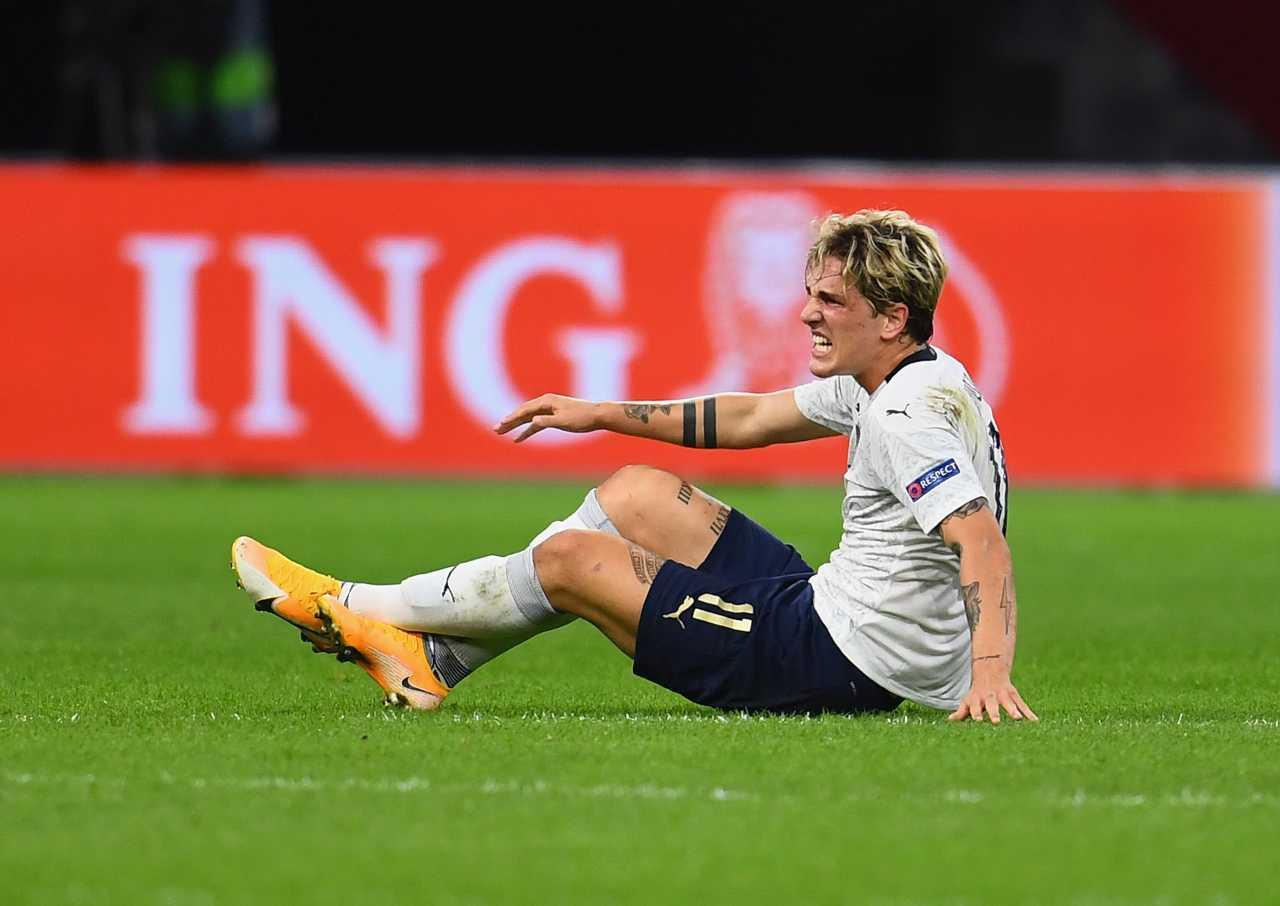 Olanda-Italia, infortunio al ginocchio per Zaniolo: esce al 41'